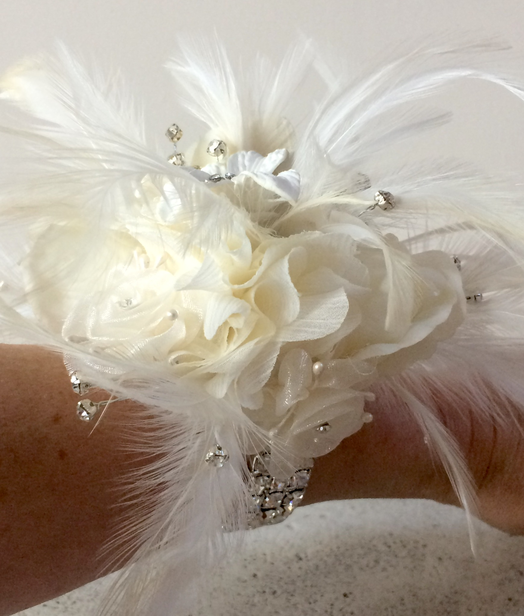 Stunning Ivory Fabric Flower Diamante Feather Bracelet Oriel Silk
